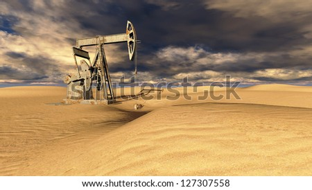Oil field pump jacks at  sand with dark clouds in background - stock photo