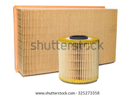oil filter and air filter for a car isolated on white background