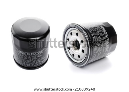 oil filter for car, automotive spare part - stock photo