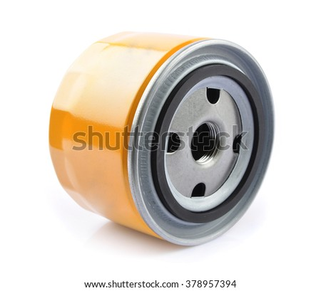 Oil Filter isolated on White Background. - stock photo