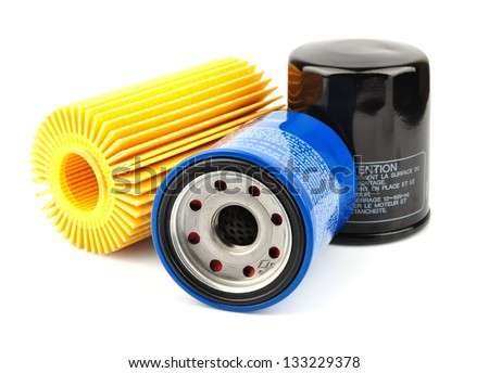Oil Filter isolated on White Background.Automobi le spare part - stock photo
