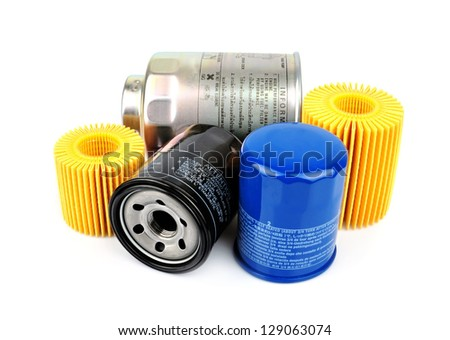 Oil Filter isolated on White Background.Automobile spare part - stock photo