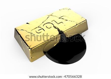Oil flows from cracked gold ingot concept 3d illustration