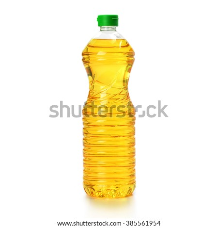 oil in plastic bottle isolated on white background - stock photo