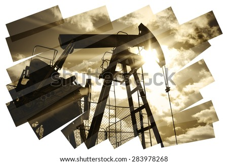 Oil industry abstract composition background. Oil and gas industry. Photo collage toned sepia. Isolate on a white. - stock photo