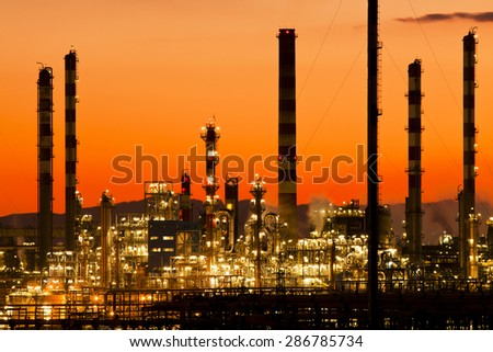 oil industry in Tarragona Spain Industry and factories backgrounds - stock photo