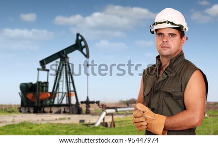oil industry oil worker posing - stock photo