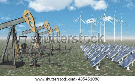 Oil industry versus renewable energy Computer generated 3D illustration