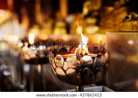 Oil lamp in Buddha temple , Doi Suthep temple, Chiang Mai, Thailand