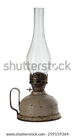 Oil lamp isolated on white - stock photo