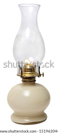 oil lamp. old kerosene lamp isolated on white background . oil-stove  - stock photo