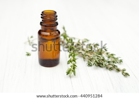 oil of thyme fresh sprigs of thyme - stock photo