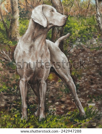 oil on canvas of a dog in a grove - stock photo