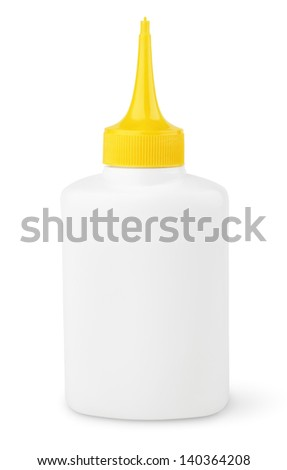 Oil or glue bottle isolated on white with clipping path - stock photo