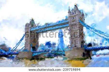 oil paint london tower bridge - stock photo