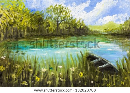 oil paint of boat on lake with cloudy sky - stock photo