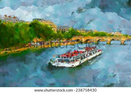 oil paint paris seine boat - stock photo