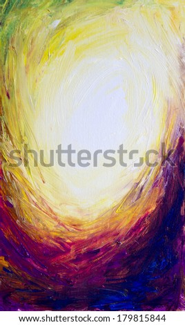 Oil painted abstract background with the light center in a dark colored swirl. - stock photo