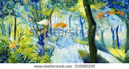 Oil painting: a child with a butterfly net catching flying fish in the park - stock photo