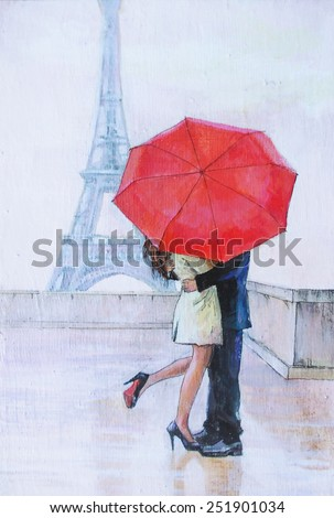 oil painting, a pair of lovers under an umbrella, Eiffel Tower, Paris, valentines day, red umbrella, kiss, passion, - stock photo