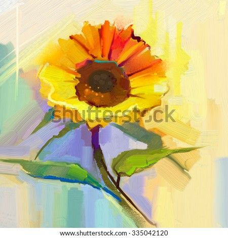 Oil painting a single yellow sunflower with green leaves. Hand painted Still life flower in soft yellow, blue green color background. - stock photo