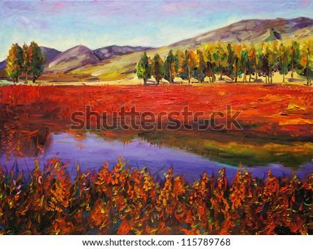 Oil Painting - Autumn Field - stock photo