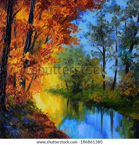 Oil Painting - autumn forest with a river and bridge over the river, bright red leaves  - stock photo
