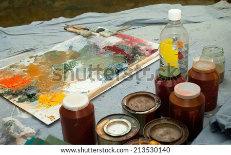 oil painting, brushes and palette
