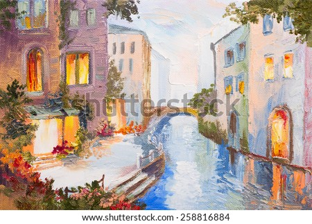 Oil painting - canal in Venice, Italy, modern impressionism, colorful art - stock photo