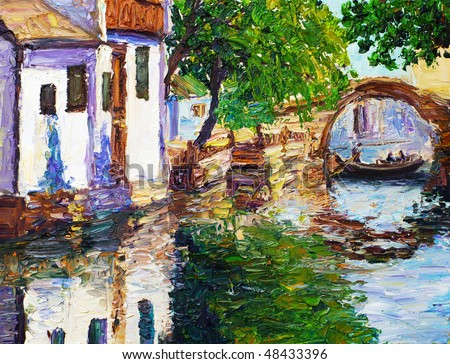 Oil Painting - Chinese Watercourse - stock photo