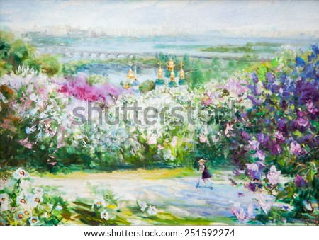 oil painting, church in the distance, oil painting of a beautiful Christian church, - stock photo