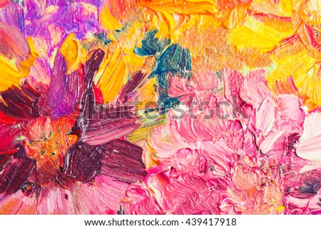 Oil painting, close up fragment with colorful bouquet of summer flowers - stock photo