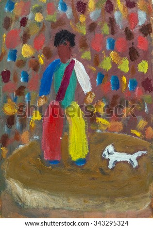 Oil painting clown with a dog in bright colors - stock photo