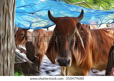 Oil painting, Cows in stables