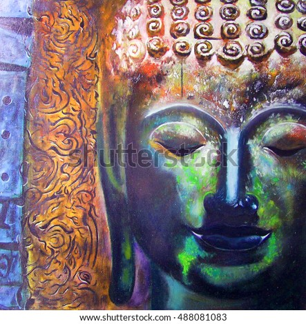 Oil Painting Face Of Buddha With Abstract Background
