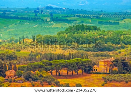 Oil painting filtered picture of Tuscany landscape, Italy. - stock photo