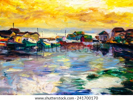 Oil Painting - Fishing Village  - stock photo