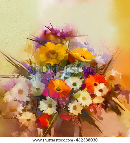 Oil painting flowers in vase. Hand paint  still life bouquet of White,Yellow and Orange Sunflower, Gerbera, Daisy flowers. Vintage flowers painting in soft color and blur style background.
