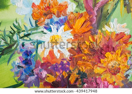 Oil painting fragment with colorful bouquet of summer flowers - stock photo