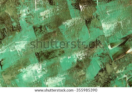 Oil painting green background. Palette knife texture on canvas. Art concept. - stock photo