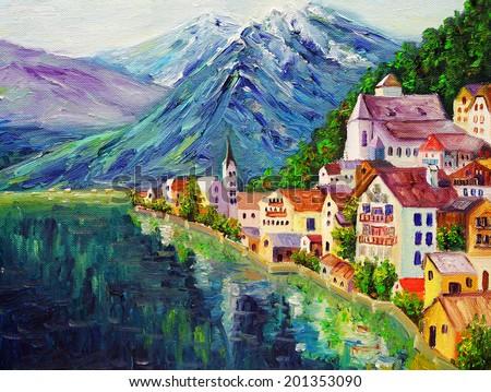 Oil Painting - Hallstatt, Austria  - stock photo
