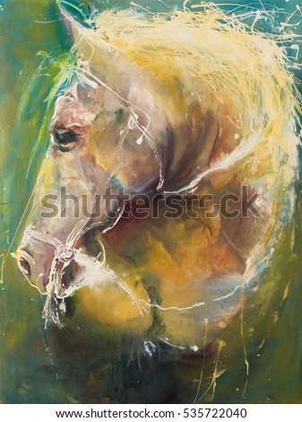 Oil painting, horse gallop, this is my artwork, I am author