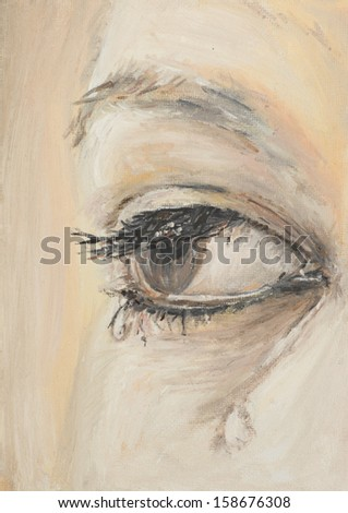 oil painting illustrating a woman's eye with tears - stock photo