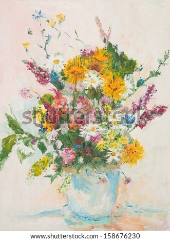 oil painting illustrating beautiful flower bouquet in glass vase - stock photo
