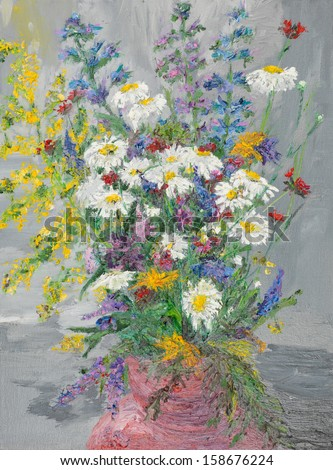 oil painting illustrating colorful wild flowers bouquet in a vase on grey background - stock photo