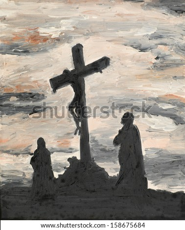 oil painting illustrating religious scene, Jesus crucified - stock photo