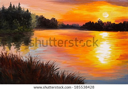 oil painting  - lake in a forest, sunset. abstract painting, art work was performed in the style of Impressionism - stock photo