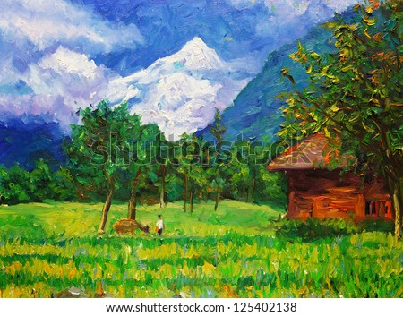 Oil Painting - Landscape - stock photo