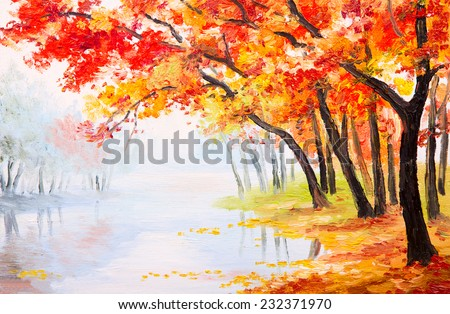 Oil painting landscape - autumn forest near the lake, orange leaves - stock photo