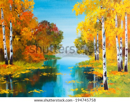 oil painting landscape - birch forest near the river - stock photo
